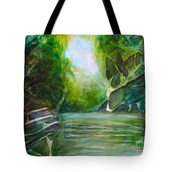 Tote Bag featuring the painting Hidden Green by Allison Ashton