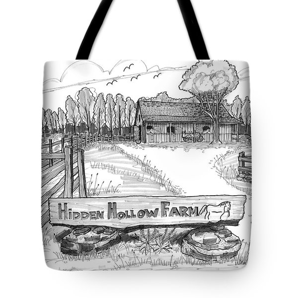 Tote Bag featuring the drawing Hidden Hollow Farm 1 by Richard Wambach