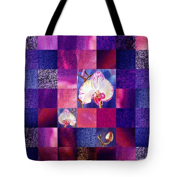 Hidden Orchids Squared Abstract Design Tote Bag by Irina Sztukowski