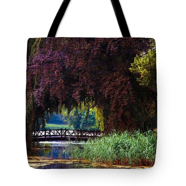 Hidden Shadow Bridge At The Pond. Park Of The De Haar Castle Tote Bag by Jenny Rainbow