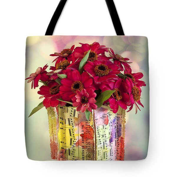 Tote Bag featuring the photograph Hide And Seek Zinnias by Sandra Foster