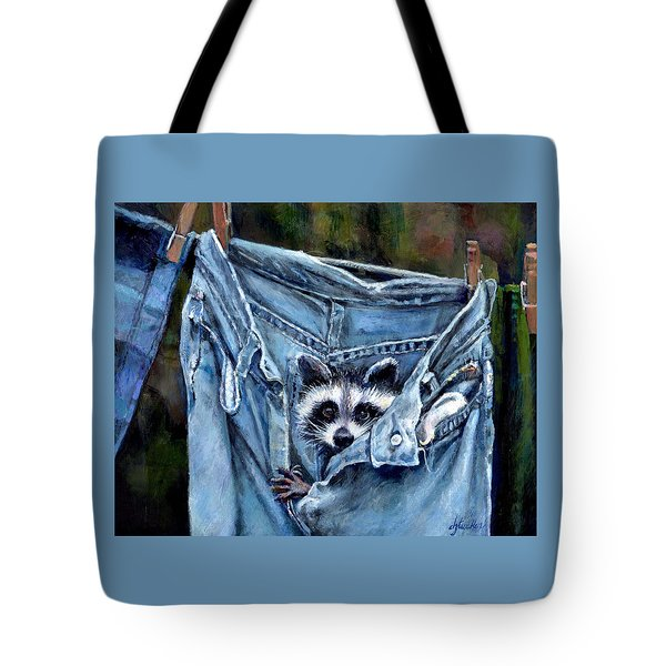 Hiding In My Jeans Tote Bag by Donna Tucker