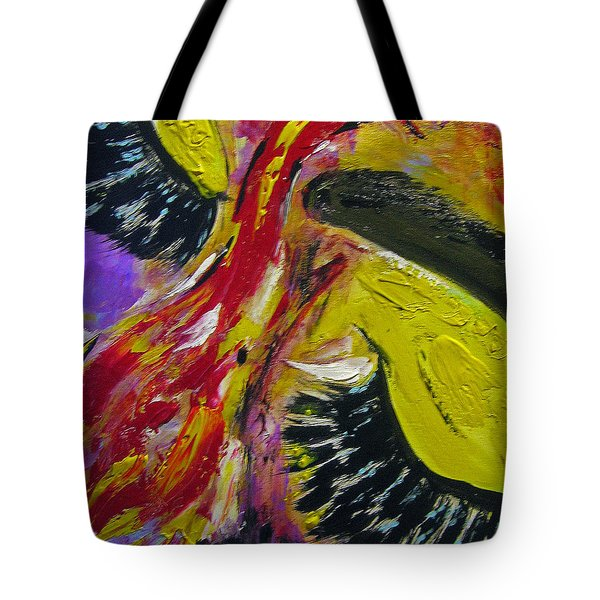 Tote Bag featuring the painting Hier Au Cirque by Lucy Matta