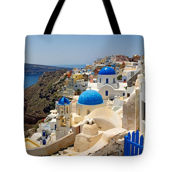 High Angle View Of A Church, Oia Tote Bag