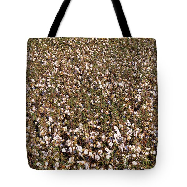 High Angle View Of A Cotton Field Tote Bag