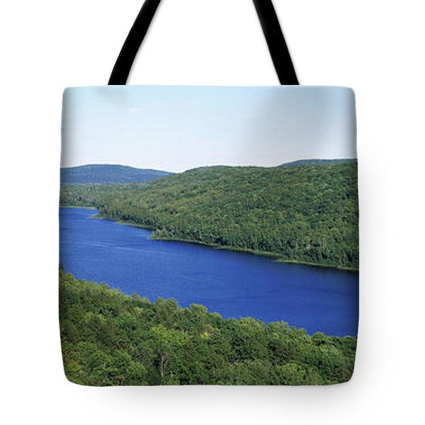 High Angle View Of A Lake, Lake Tote Bag