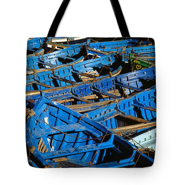 High Angle View Of Boats Docked Tote Bag