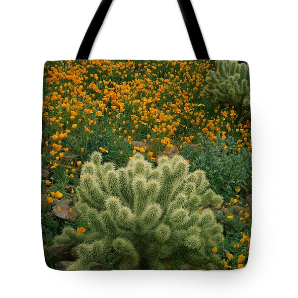 High Angle View Of Mexican Gold Poppies Tote Bag