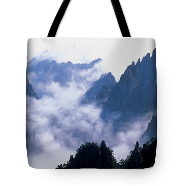 High Angle View Of Misty Mountains Tote Bag