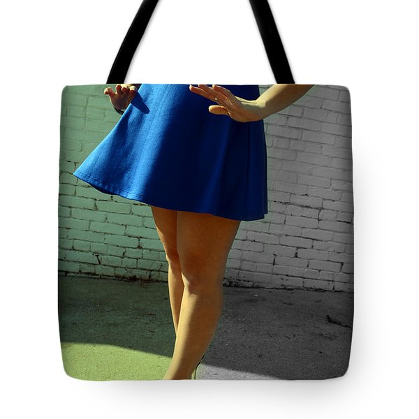 High Heels And A Blue Skirt Tote Bag