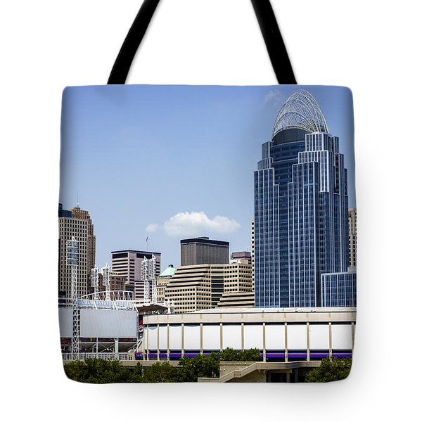 High Resolution Photo Of Cincinnati Skyline Tote Bag by Paul Velgos