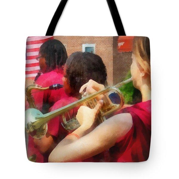 High School Band At Parade Tote Bag by Susan Savad