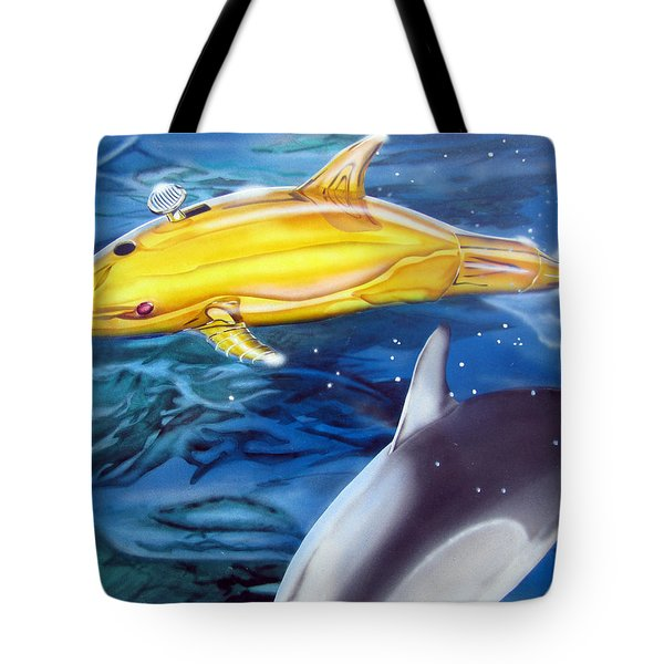 High Tech Dolphins Tote Bag
