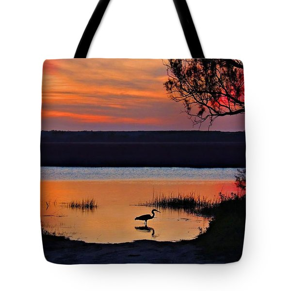 Tote Bag featuring the photograph High Tide Heron by Laura Ragland