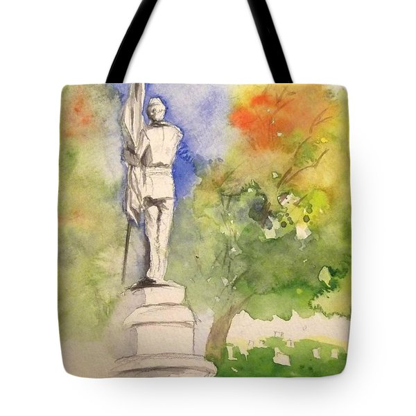Highland Cemetery-plein Air-ypsilanti Michigan 1 Tote Bag by Yoshiko Mishina
