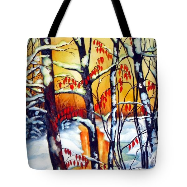 Tote Bag featuring the painting Highland Creek Sunset 2  by Inese Poga