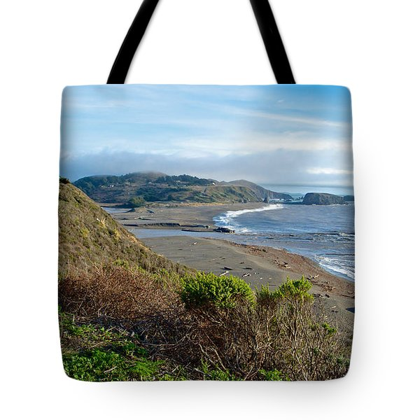 Highway 1 Near Outlet Of Russian River Into Pacific Ocean Near Jenner-ca  Tote Bag