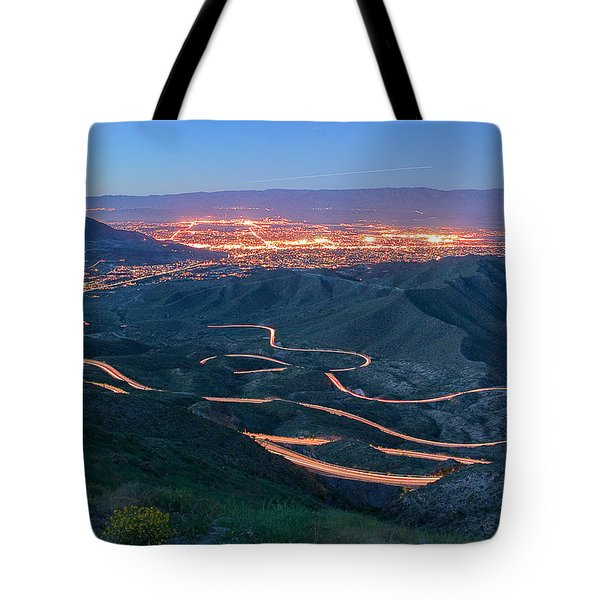 Highway 74 Palm Desert Ca Vista Point Light Painting Tote Bag