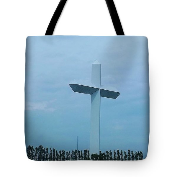 Tote Bag featuring the photograph Highway Cross by Brigitte Emme