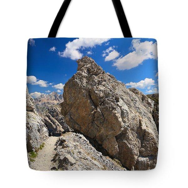 hike in Dolomites Tote Bag by Antonio Scarpi