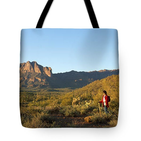 Hiker Standing On A Hill, Phoenix Tote Bag by Panoramic Images