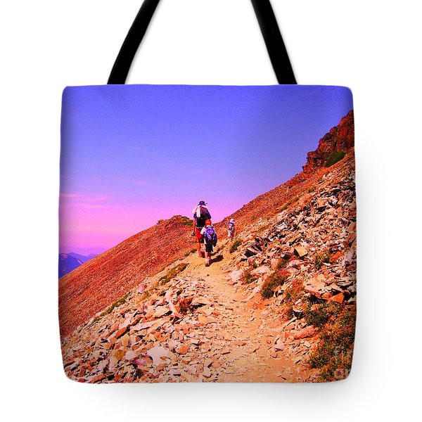 Hiking To Paradise Tote Bag by Ann Johndro-Collins
