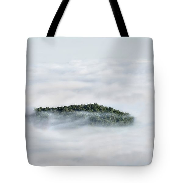 Hill Top Island In The Clouds Tote Bag by Dan Friend