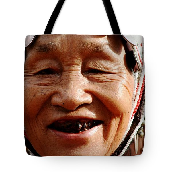 Tote Bag featuring the photograph Hill Tribe Smile by Nola Lee Kelsey