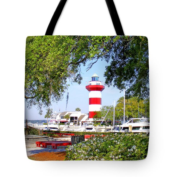 Hilton Head Lighthouse And Marina Tote Bag