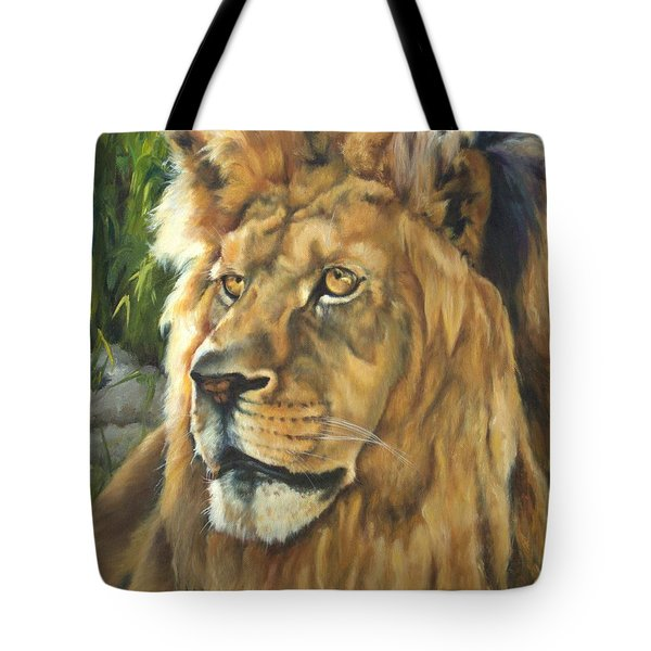 Him - Lion Tote Bag by Lori Brackett