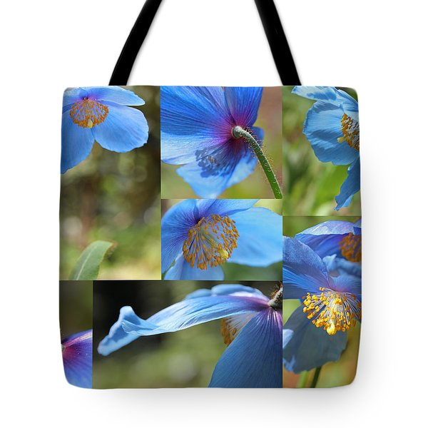 Himalayan Blue Poppy Collage Tote Bag by Jennie Marie Schell