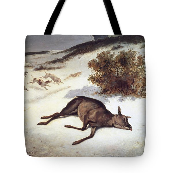 Hind Forced Down In The Snow Tote Bag by Gustave Courbet