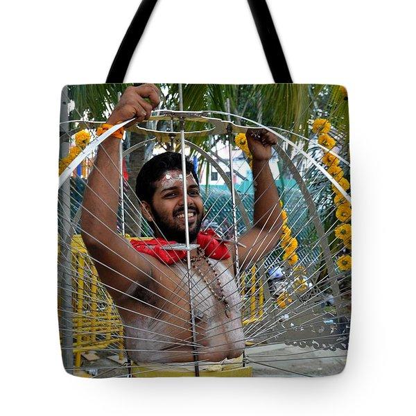 Tote Bag featuring the photograph Hindu Thaipusam Festival Pierced Devotee  by Imran Ahmed