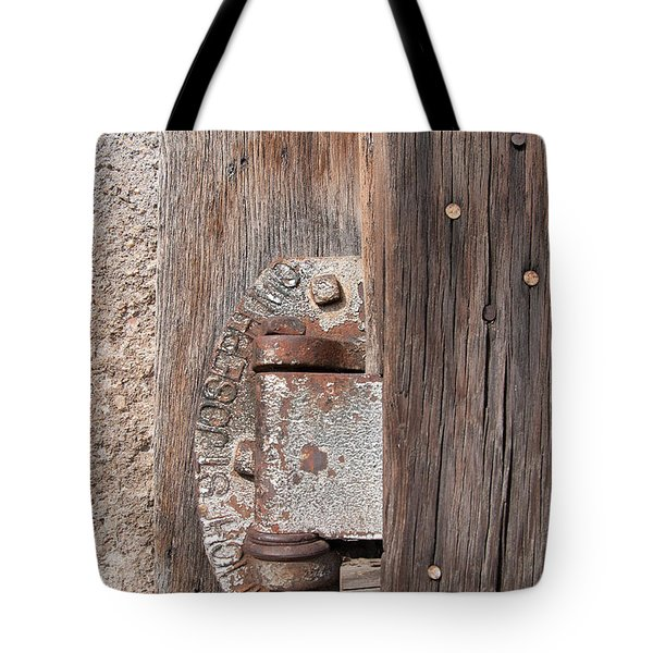 Tote Bag featuring the photograph Hinge 1 by Minnie Lippiatt