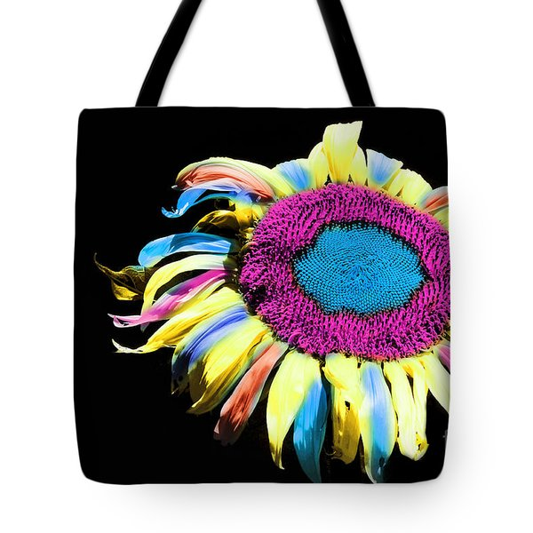 Hippie Sunflower Rainbow Painterly Tote Bag by Andee Design