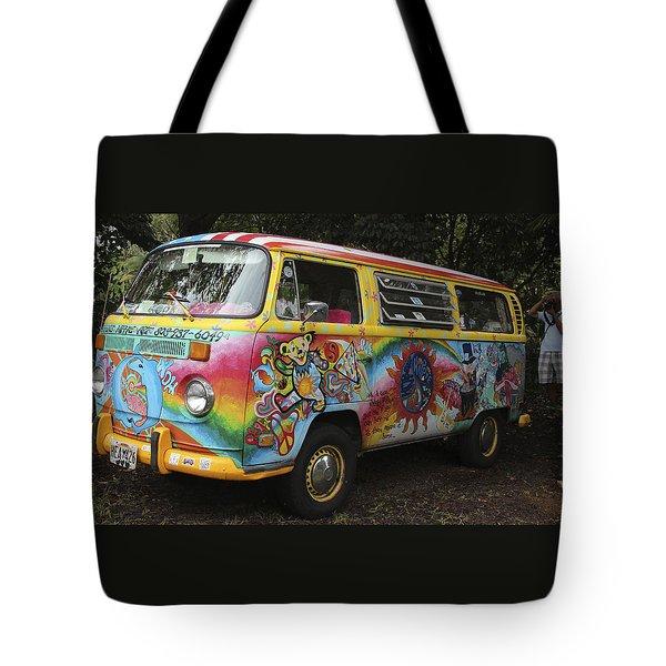 Vintage 1960's Vw Hippie Bus Tote Bag