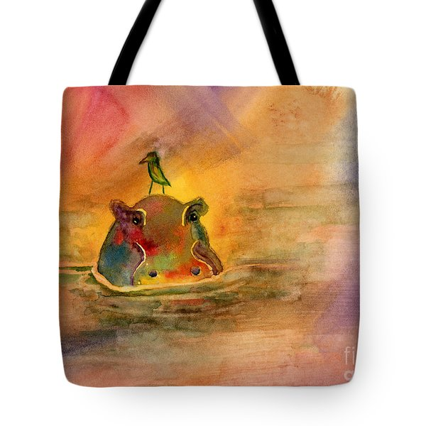 Hippo Birdie Tote Bag by Amy Kirkpatrick