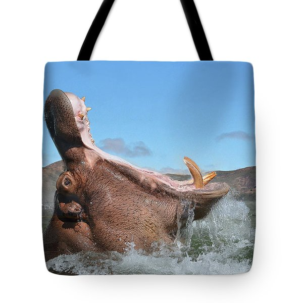 Hippopotamus Bursting Out Of The Water Tote Bag by Jim Fitzpatrick
