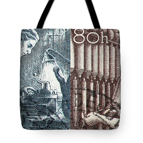 His And Hers Blue Collar Vintage Postage Stamp Details Tote Bag by Andy Prendy