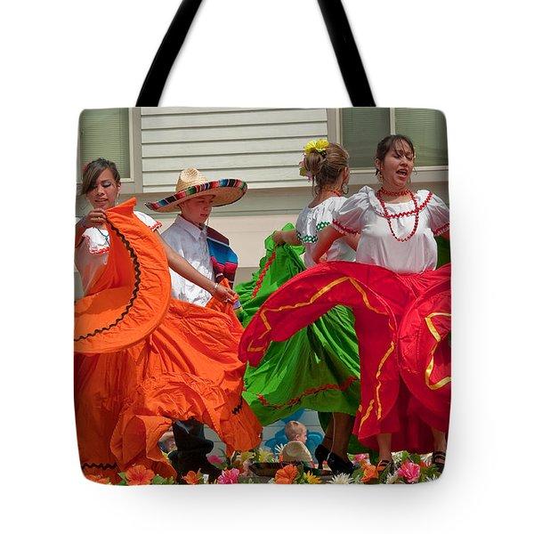 Hispanic Women Dancing In Colorful Skirts Art Prints Tote Bag