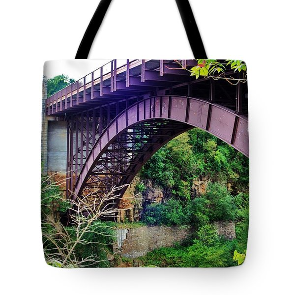 Historic Ausable Chasm Bridge Tote Bag by Patti Whitten
