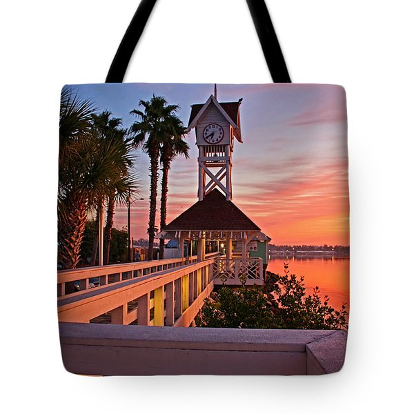 Historic Bridge Street Pier Sunrise Tote Bag