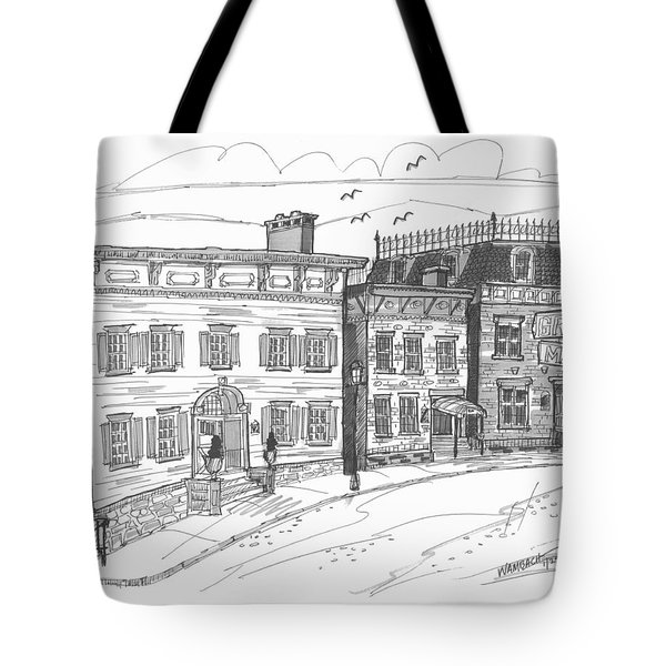 Tote Bag featuring the drawing Historic Catskill Street by Richard Wambach