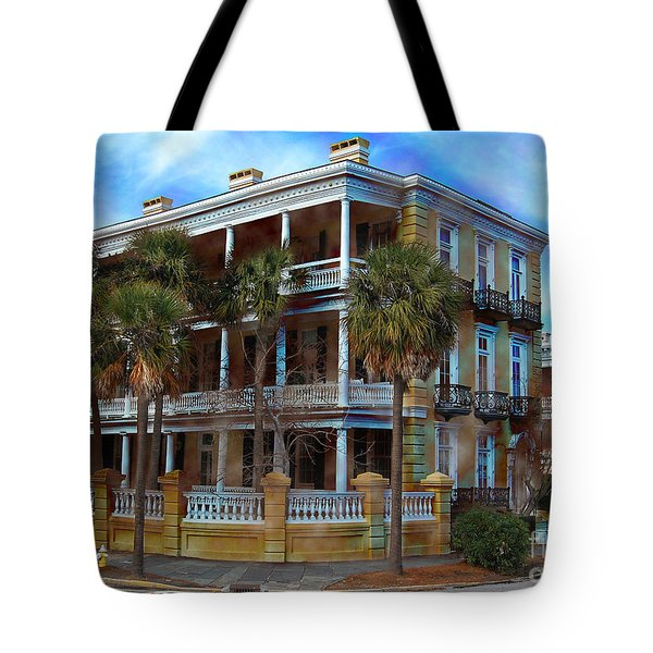 Tote Bag featuring the photograph Historic Charleston Mansion by Kathy Baccari