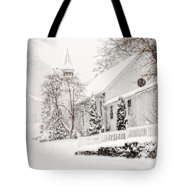 Tote Bag featuring the photograph Historic Church In Oella Maryland During A Blizzard by Vizual Studio