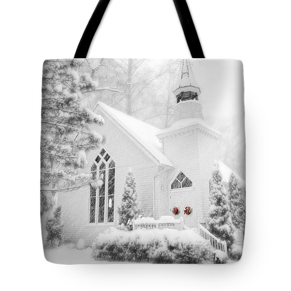 Tote Bag featuring the photograph White Christmas In Oella Maryland Usa by Vizual Studio