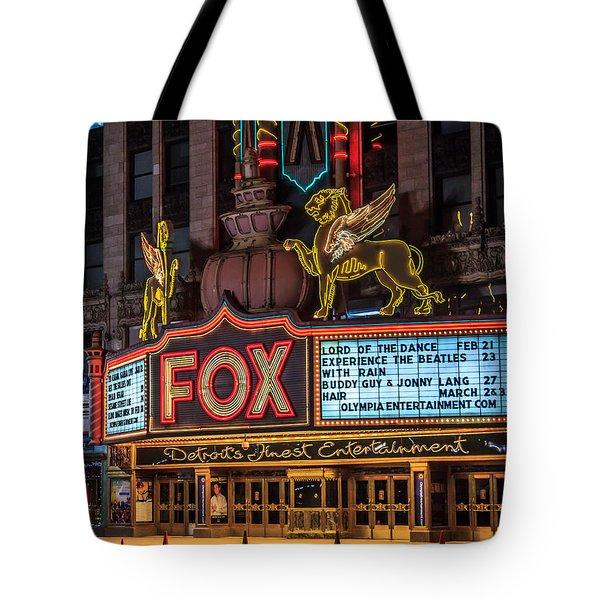 Historic Fox Theatre In Detroit Michigan Tote Bag