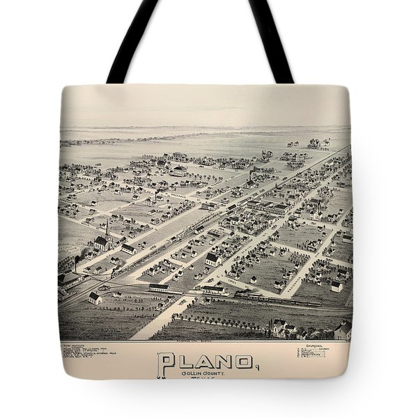 Historic Map Of Plano Texas 1891 Tote Bag
