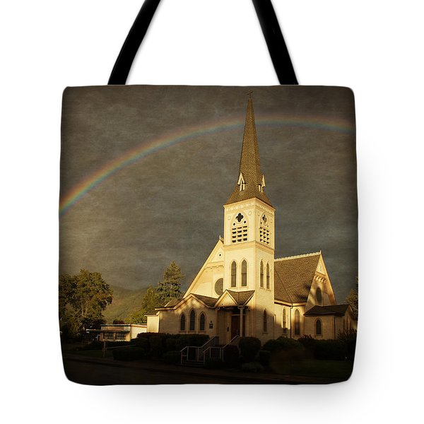 Historic Methodist Church In Rainbow Light Tote Bag