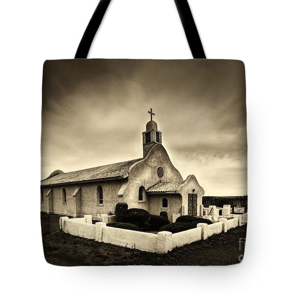 Historic Old Adobe Spanish Style Catholic Church San Ysidro New Mexico Tote Bag by Jerry Cowart